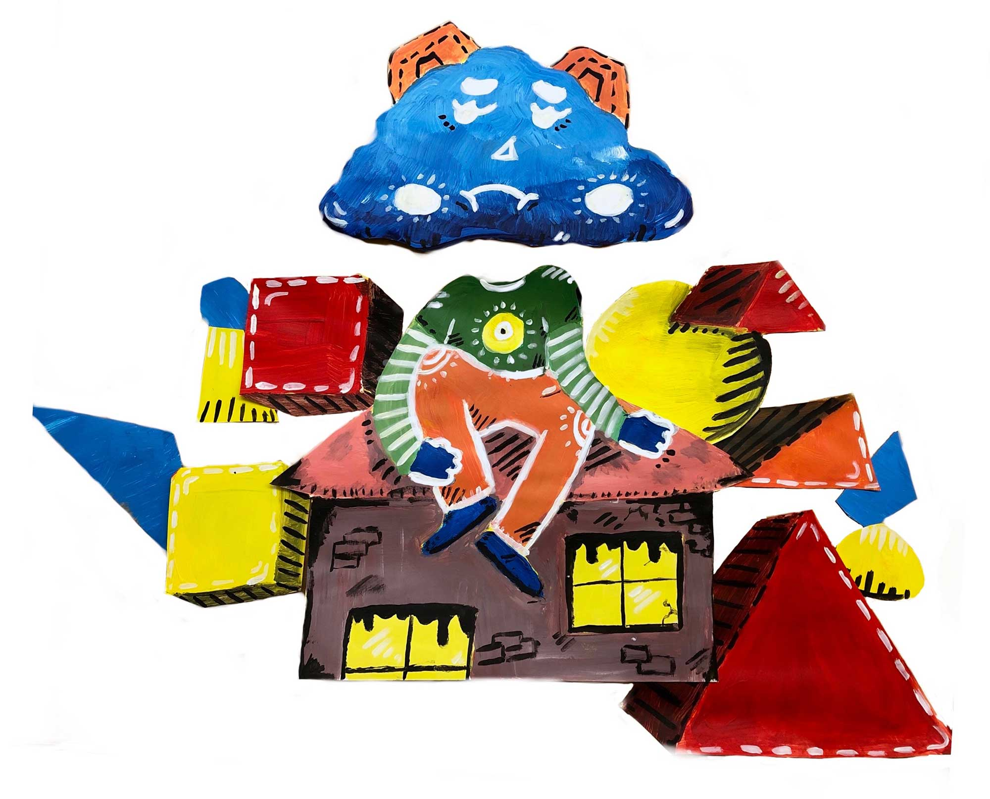 CLoud Man Sitting on a house surrounded by 3D blocks and triangles